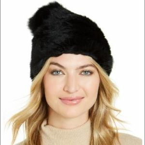 Marcus Adler Genuine Rabbit Fur Pom Hat -Black